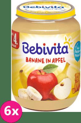 6x BEBIVITA Jablka s banánem (190 g) - ovocný příkrm