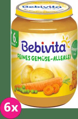 6x BEBIVITA Jemná zeleninová zmes (190 g) - zeleninový príkrm