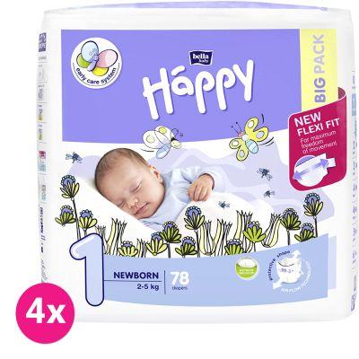 4x BELLA HAPPY Newborn 1 (2-5 kg) Big Pack 78ks - jednorázové pleny
