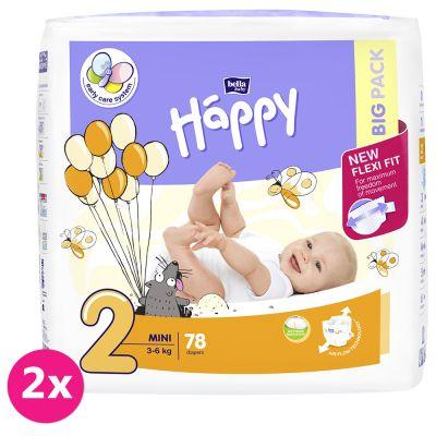 2x BELLA HAPPY Mini 2 (3-6 kg) Big Pack 78 ks – jednorázové plenky