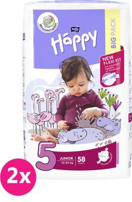 2x BELLA HAPPY Junior 5 (12-25 kg) Big Pack 58 ks – jednorázové plenky
