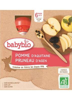 BABYBIO Kapsička jablko švestka - ovocný příkrm (4x 90 g)
