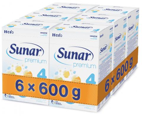6x SUNAR Premium 4 (600 g) – kojenecké mléko