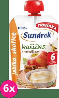 6x SUNÁREK Kašička s cereáliami jablko a škorica (120 g)