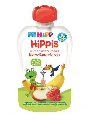 6x HIPP HiPPiS BIO 100% ovoce Jablko-Banán-Jahoda 100 g – ovocný příkrm