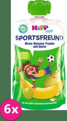 6x HIPP HiPPiS BIO Sport hruška, banán, biele hrozno, ovos 120 g - ovocný príkrm