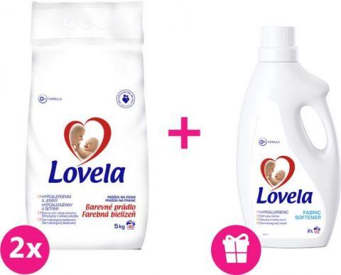 2x LOVELA Color prací prášok 5 kg (40 dávok) + Lovela aviváž 2 L