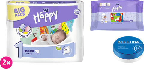 2x BELLA HAPPY Newborn 1 plienky (2-5 kg) 78 ks + Indulona Telový krém 75 ml + Happy Wipes 24 ks