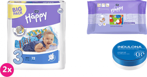 2x BELLA HAPPY Midi 3 plienky (5-9 kg) 72 ks + Indulona Telový krém 75 ml + Happy Wipes 24 ks