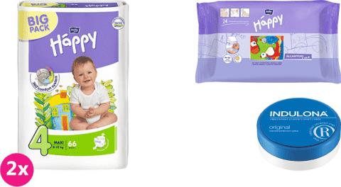 2x BELLA HAPPY Maxi 4 plienky (8 -18kg) 66 ks + Indulona Telový krém 75 ml + Happy Wipes 24 ks
