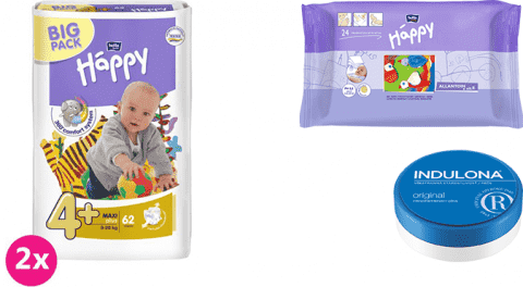 2x BELLA HAPPY Maxi Plus 4+ plienky (9-20 kg) 62 ks + Indulona Telový krém 75 ml + Happy Wipes 24 ks
