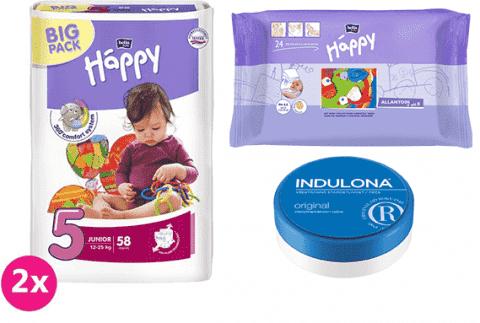 2x BELLA HAPPY Junior 5 plienky (12-25 kg) 58 ks + Indulona Telový krém 75 ml + Happy Wipes 24 ks