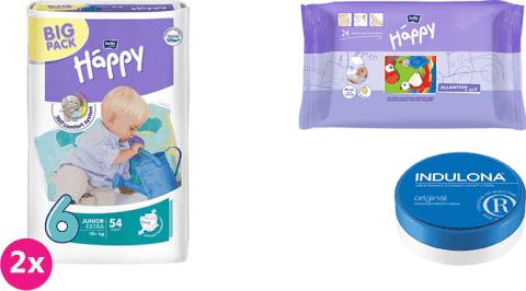 2x BELLA HAPPY Junior Extra 6 plienky (16+ kg) 54 ks + Indulona Telový krém 75 ml + Happy Wipes 24 k