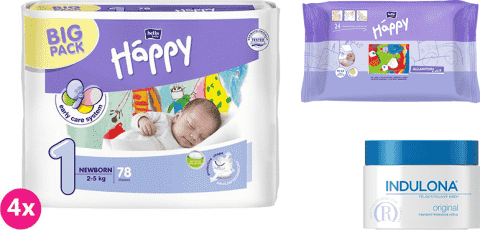4x BELLA HAPPY Newborn 1 plienky (2-5 kg) 78 ks + Indulona Telový krém 250 ml + Happy Wipes 24 ks