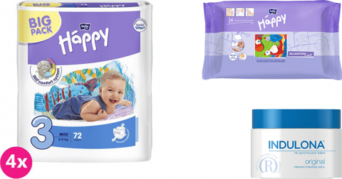 4x BELLA HAPPY Midi 3 plienky (5-9 kg) 72 ks + Indulona Telový krém 250 ml + Happy Wipes 24 ks