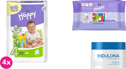 4x BELLA HAPPY Maxi 4 plienky (8 -18kg) 66 ks + Indulona Telový krém 250 ml + Happy Wipes 24 ks