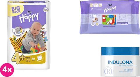 4x BELLA HAPPY Maxi Plus 4+ plienky (9-20 kg) 62 ks + Indulona Telový krém 250 ml + Happy Wipes 24 k