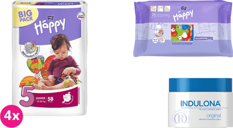4x BELLA HAPPY Junior 5 plienky (12-25 kg) 58 ks + Indulona Telový krém 250 ml + Happy Wipes 24 ks