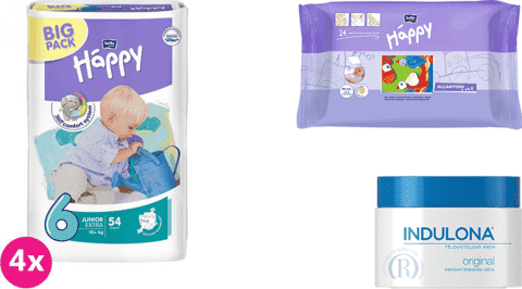 4x BELLA HAPPY Junior Extra 6 plienky (16+ kg) 54 ks + Indulona Telový krém 250 ml + Happy Wipes 24