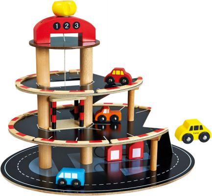 BINO Parkoviště dřevěné s výtahem, 4 autíčka
