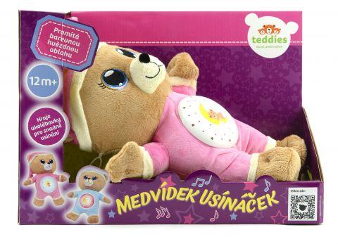 TEDDIES Medvídek Usínáček růžový plyš 32 cm se světlem a zvukem