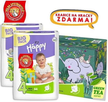 BELLA HAPPY Maxi 4 Big TOY BOX (8-18 kg), 132 ks – jednorázové pleny