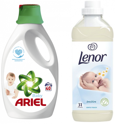 ARIEL Baby gel 2,2 l (40 dávek) + LENOR Gentle Touch 930 ml (31 dávek)
