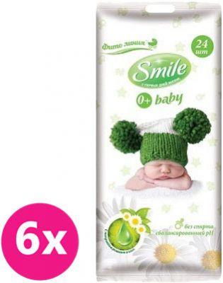 6x SMILE Baby Heřmánek a aloe vera 24 ks – vlhčené ubrousky