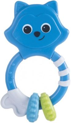 CANPOL BABIES Chrastítko s kousátkem pruhované zvířátko - modré