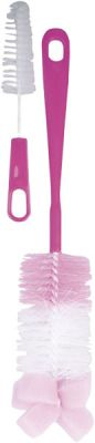 CANPOL BABIES Kartáč na čištění lahví s hubkou - růžová