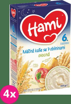 4x HAMI Kaše na dobrou noc obilná s ovocem (225 g) - mléčná kaše