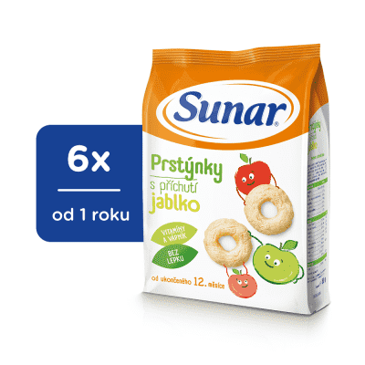 6x SUNAR Dětský snack jablečné kroužky 50 g