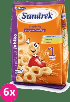 6x SUNÁREK Detský snack jablčné krúžky (50 g)
