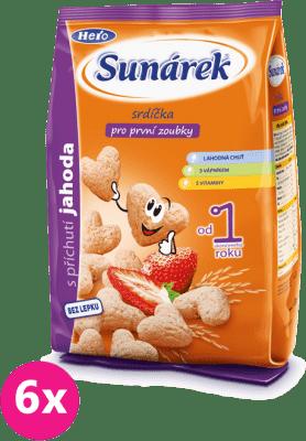 6x SUNÁREK Detský snack jahodové srdiečka (50 g)