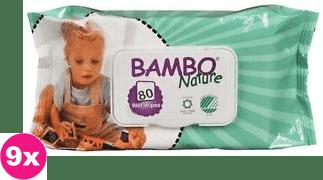 9x BAMBO Nature vlhčené ubrousky (80 ks)