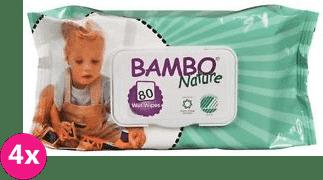 4x BAMBO Nature vlhčené ubrousky (80 ks)