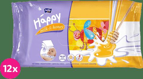 12x BELLA HAPPY BABY Vlhčené ubrousky mléko a med 64 ks