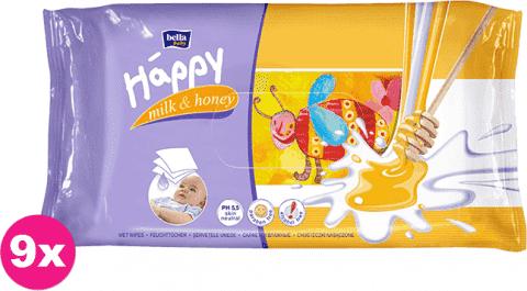 9x BELLA HAPPY BABY Vlhčené ubrousky mléko a med 64 ks