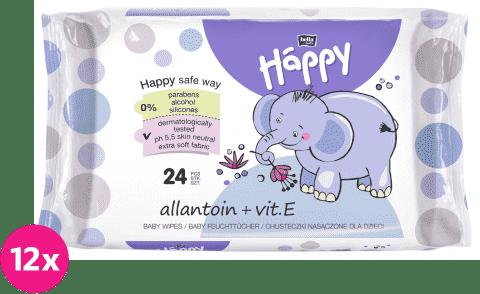 12x BELLA HAPPY BABY Vlhčené ubrousky s vitamínem E 24 ks