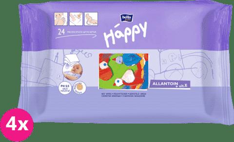 4x BELLA HAPPY BABY Vlhčené ubrousky s vitamínem E 24 ks