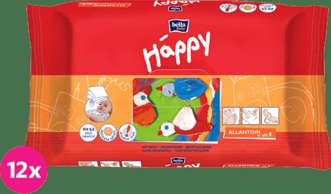 12x BELLA HAPPY BABY Vlhčené ubrousky s vitamínem E 64 ks