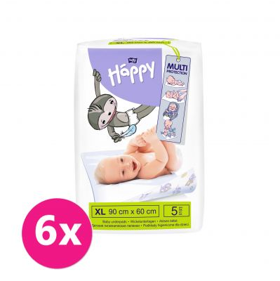 6x BELLA HAPPY Dětské přebalovací podložky (90 x 60 cm) 5ks