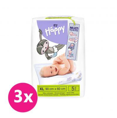 3x BELLA HAPPY Dětské přebalovací podložky (90 x 60 cm) 5 ks