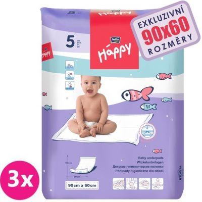 3x BELLA HAPPY Dětské přebalovací podložky 5ks