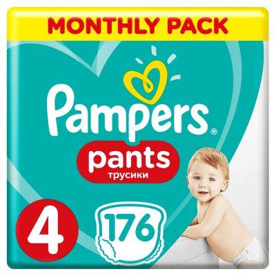 PAMPERS Pants 4 Active Baby Dry 176 ks (9-15 kg) MĚSÍČNÍ ZÁSOBA - plenkové kalhotky