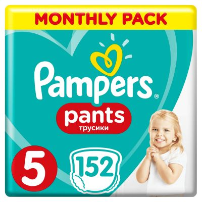 PAMPERS Pants 5 Active Baby Dry 152 szt. (11-18 kg) ZAPAS NA MIESIĄC – pieluchomajtki