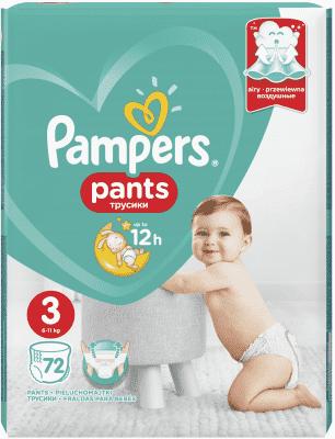 PAMPERS Pants 3 Active Baby Dry 72 ks (6-11 kg) - plenkové kalhotky