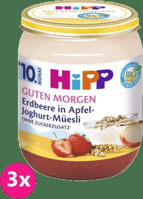 3x HiPP BIO Müsli, jahody a jogurt (160 g) - ovocný příkrm