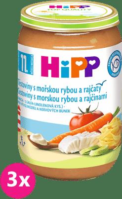 3x HiPP jemné těstoviny s mořskou rybou a rajčaty (220 g) - maso-zeleninový příkrm