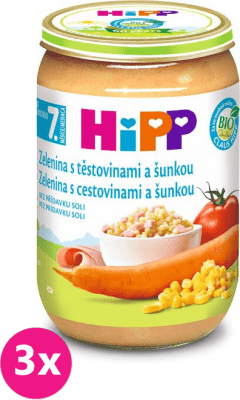 3x HIPP BIO Zelenina s těstovinami a šunkou (220 g) - maso-zeleninový příkrm